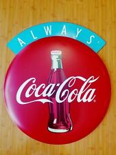 LARGE RED COKE COCA COLA METAL DECOR button Home Wall Art Plaque blue soda pop