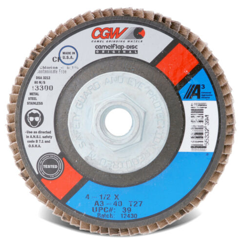 "3pcs 4-1//2/"" x 5//8-11 Aluminum Oxide 40 Grit A3 Type 29 Flap Discs CGW 39432 USA"