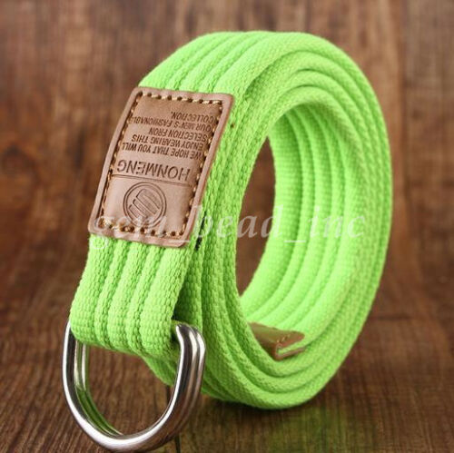 Unisex Canvas Belt Military Tactical D Ring Alloy Buckle Outdoor Woven Waistband