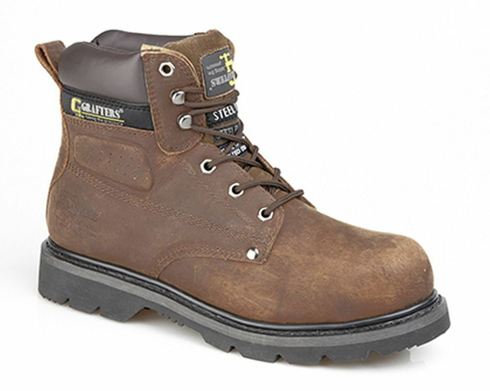 BROWN LEATHER SIZE 8 9 10 11 12 13 SAFETY TOE LACE UP STITCHED SOLE WORK Stiefel