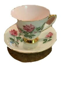 Old Royal Bone China England Pink Roses  Gold Trim Footed Teacup And Saucer