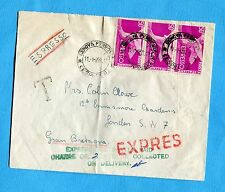 1958 EXP.DEM.£.50 STRISCIA DI TRE ann.GENOVA per LONDRA   (257994)