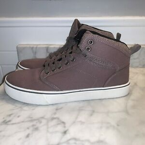 NEW-Mens-Canvas-High-Top-Skate-Shoes-Brown-Gray-Khaki-Sneakers-Size-8