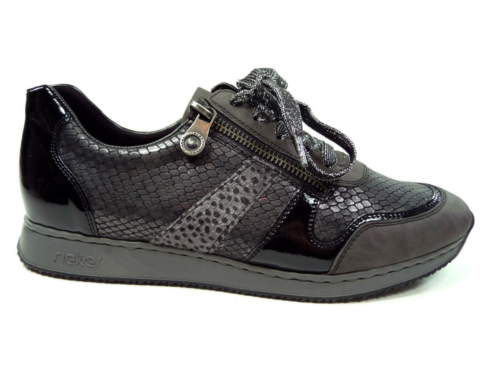 Rieker Damenschuhe Halbschuhe mit Schnürung in Grau   Schwarz 56001-45
