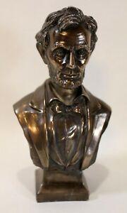 """Abraham Abe Lincoln Bust US 16th President Figurine Statue Décor Bronze color 7"""""""