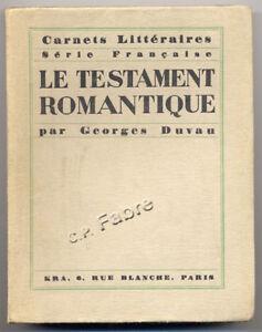 GEORGES-DUVAU-LE-TESTAMENT-ROMANTIQUE-1927-ENVOI
