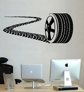 Wheel Wall Decal Nursery Racing Car Sticker Tire Track Boy