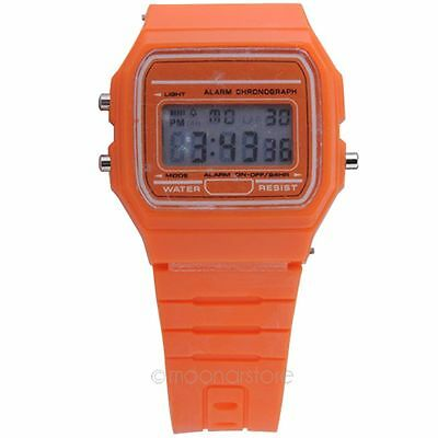 Unisex LED Digital Touch Screen Jelly Plastic Mens Alarm Date Sport Wrist Watch