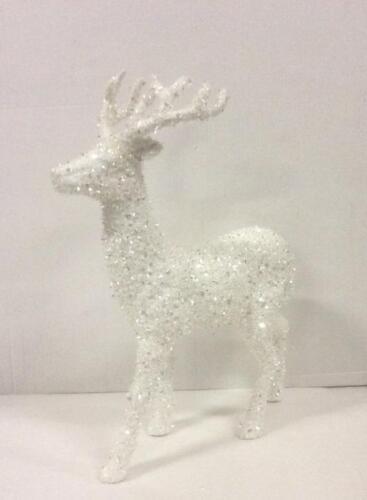 """Nouveau 46 cm de haut standing Renne Figure Décoration de Noël /""""BLANC//ARGENT/"""""""
