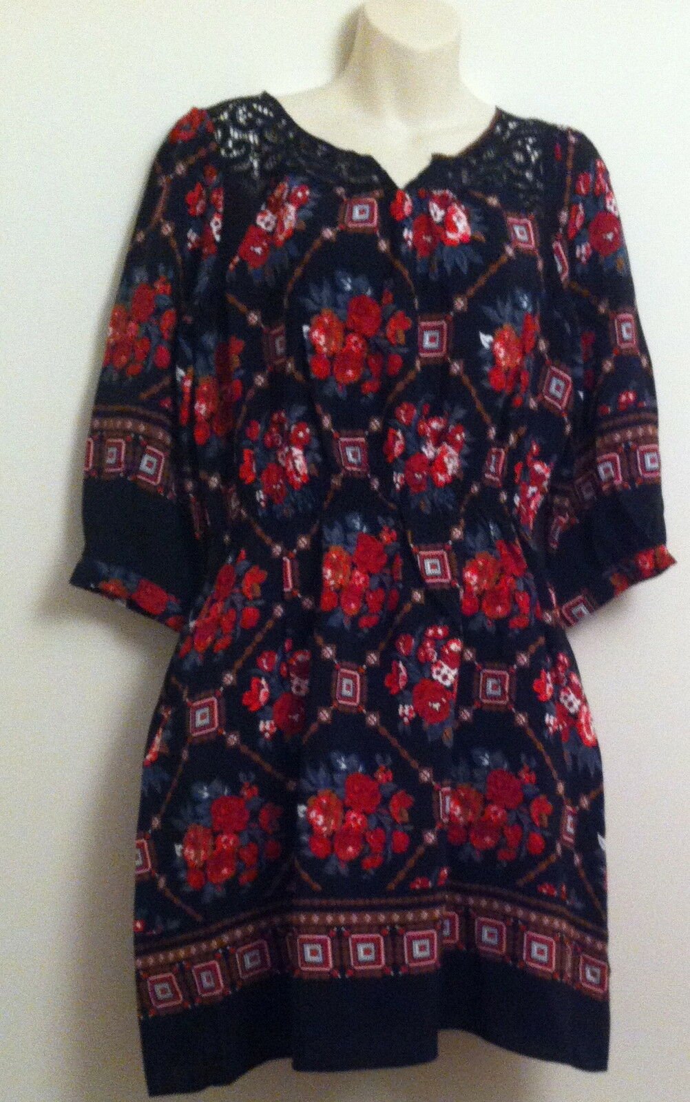 BNWT NEXT RED MIX FLORAL SUMMER DRESS SIZE 14