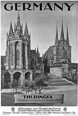 TA12 Vintage German Thuringia Erfurt Cathedral Germany Travel Poster Re-Print A4