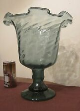 vintage hand made blown detailed green art glass vase compote centerpiece bottle