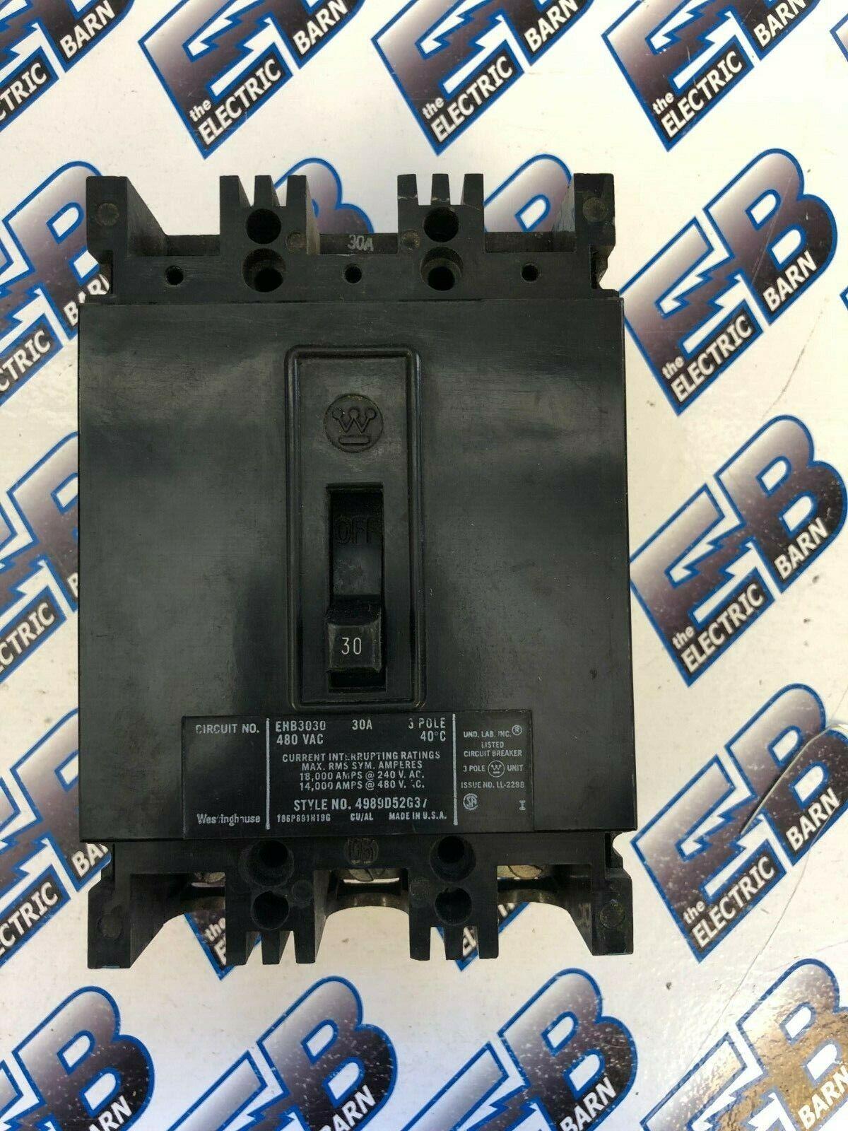 Westinghouse EHB3030 WARRANTY 30 Amp 3 POLE 480 VOLT Circuit Breaker