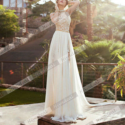 New Long Chiffon Lace Bridesmaid Backless Formal Evening Party Cocktail Dress