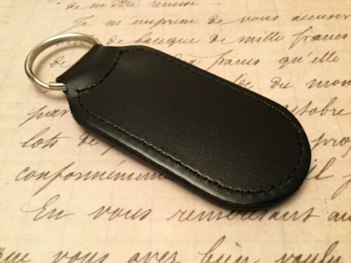 RENAULT Quality Black Real Leather Keyring  Printed and resin coated CLIO MEGANE