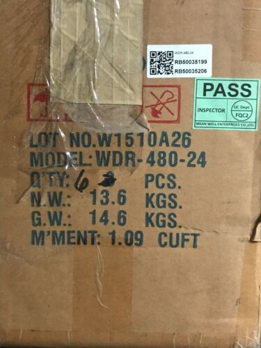 20A MEAN WELL WDR-480-24 Switching Power Supply 200-500VAC,4A 24V 50//60Hz,OP