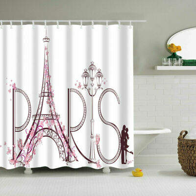 Romantic Paris Polyester Waterproof Bathroom Fabric Shower Curtain 12 Hook