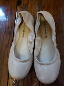 lucky brand women's tan ballet flats size 7m casual shoes