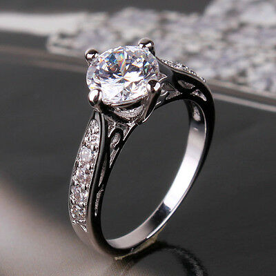 Real white gold filled Vintage style white sapphire Engagement ring Sz5-Sz9