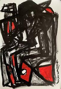 SEVARD Abstrakte Komposition Gemälde Zeichnung A4 Original Signiert Unikat N422