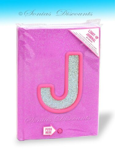 """DIARY NWT JUSTICE LIGHT-UP//BLINKING INITIALS /""""J/"""" or /""""T/"""" JOURNAL"""