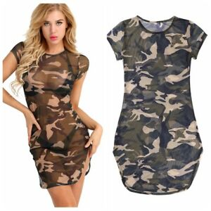 Summer-Womens-Ladies-Camouflage-Tops-T-shirt-Clubwear-Party-Mini-Dress-Blouse