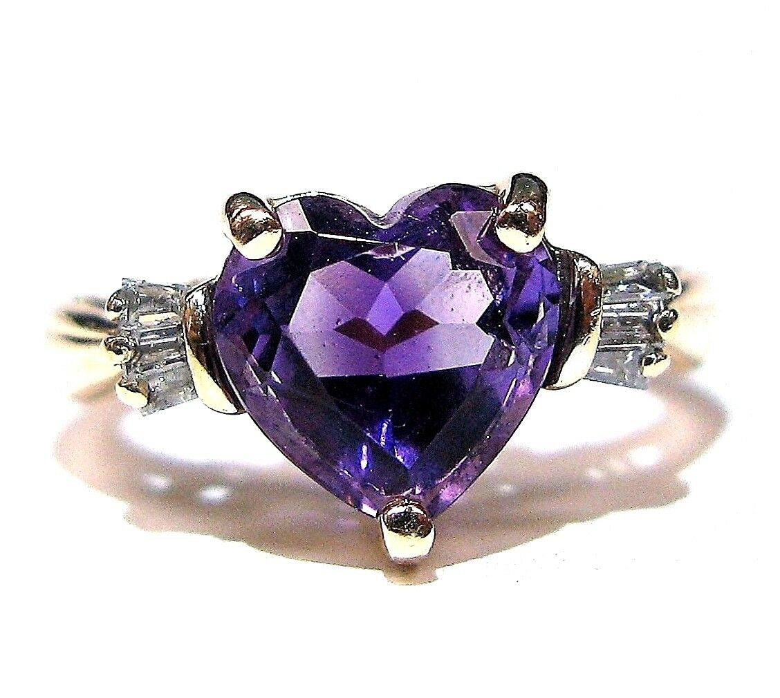 14k Yellow gold Genuine Solitaire Heart Amethyst & Diamond Design Ring Size 4.00