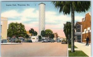 WAYCROSS-Georgia-GA-LEGION-PARK-Street-Scene-c1940s-Linen-Postcard