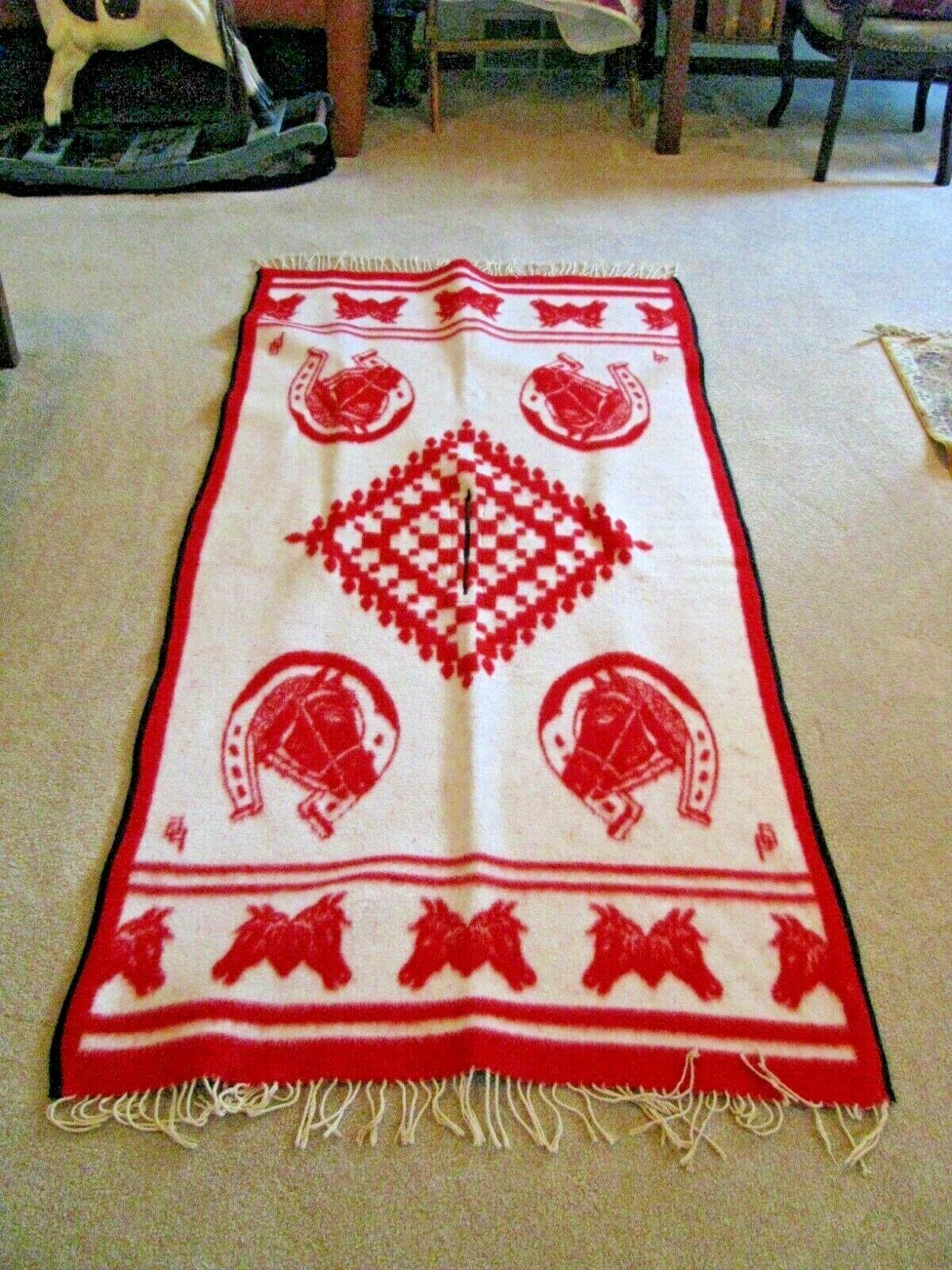 Vintage Wool Shawl/Poncho-Red and White w/fringe-Horses Motif-74 1/2