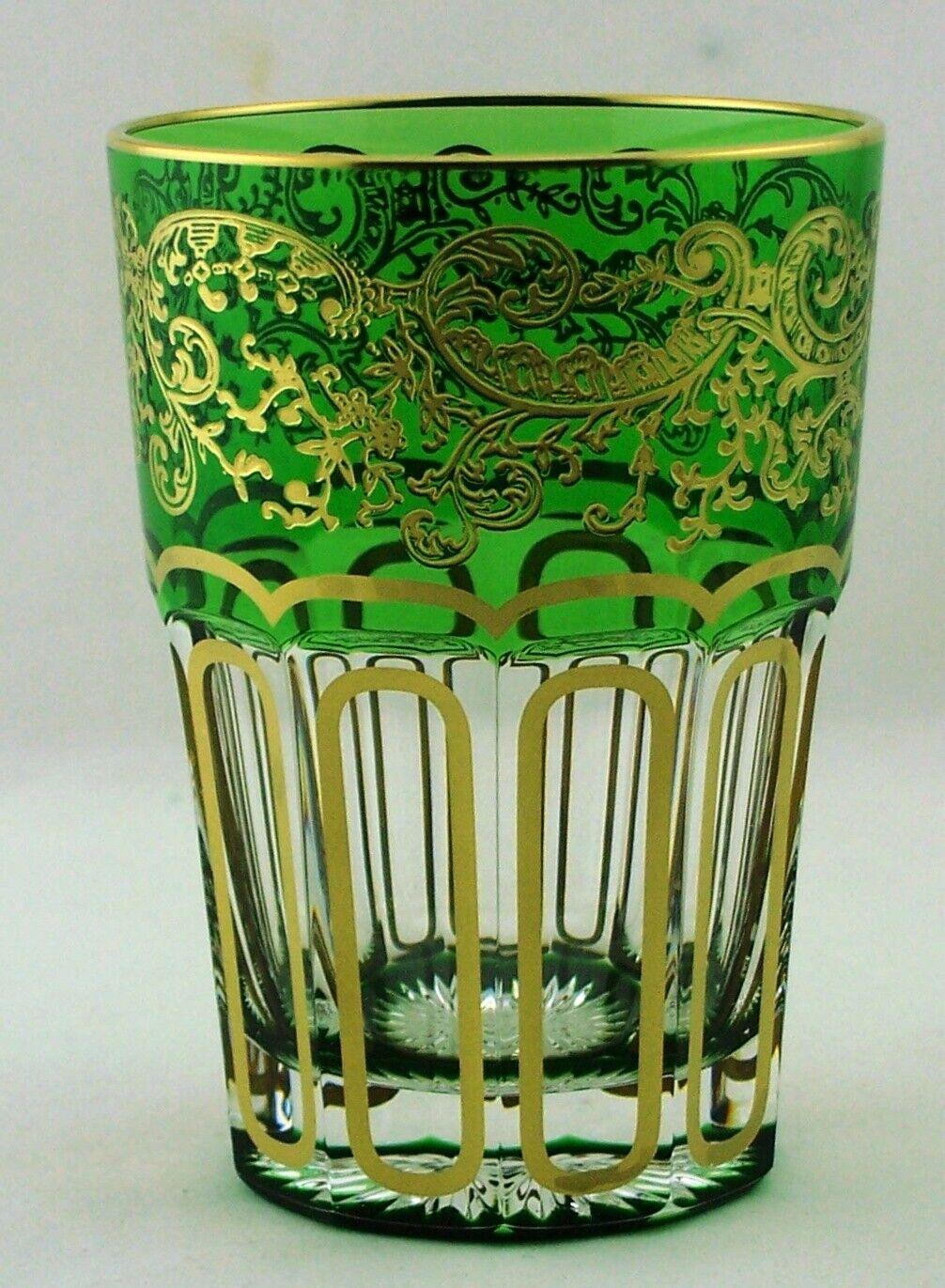 Teeglas aus Bleikristall mit Golddekor in grün und Geschenkkarton - AE 218