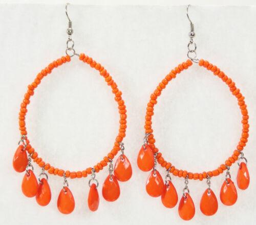 """Jumbo seed bead door knocker hoop earrings 3/"""" long orange teardrop dangles"""