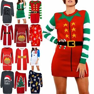0dacfd01316 Womens Ladies Christmas Xmas Belt Elf Costume Knitted Jumper Sweater ...