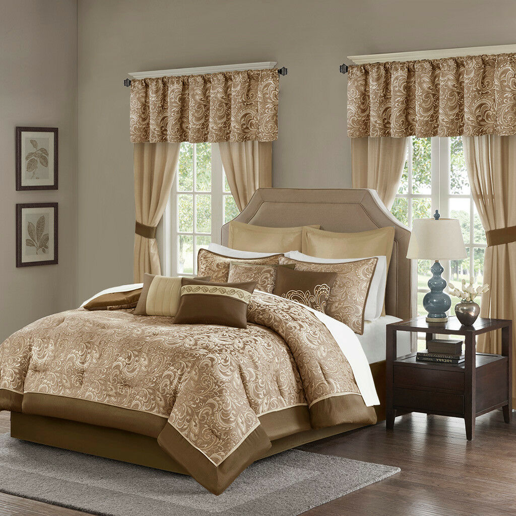 Elegant Gold braun Faux Silk  Paisley Comforter Curtain 24 pc Set Cal King Queen
