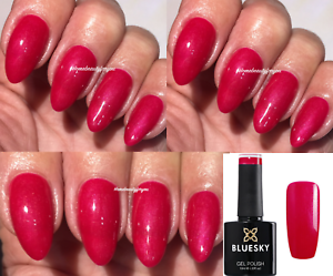 BLUESKY-RED-RASPBERRY-PINK-SHIMMER-NAIL-GEL-POLISH-UV-LED-SOAK-OFF-ANY-2-FILE