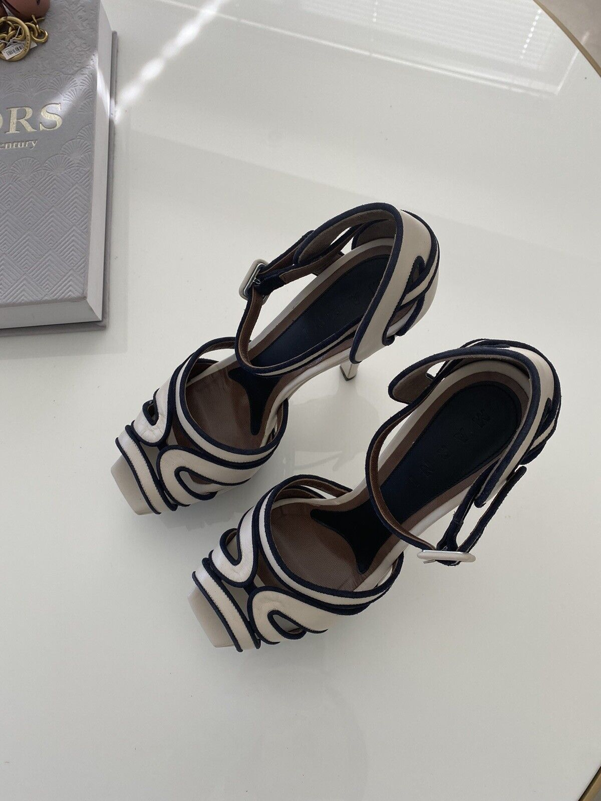 New MARNI Two Tone Leather Platform Sandals Heels Shoes 38