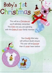 Babys 1st christmas greeting card traditional cards lovely verse image is loading baby 039 s 1st christmas greeting card traditional m4hsunfo