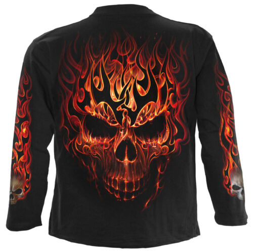 Details about  /SPIRAL DIRECT SKULL BLAST Long Sleeve T-Shirt//Tattoo//Fire Skull//Goth//Flames//Top