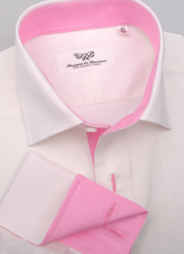 White Herringbone Twill Dress Shirt Business Formal Pink Poplin Mens French Cuff