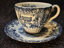 Johnson Brothers Coaching Scenes Tea Cup Saucer Set Blue & White EXCELLENT!