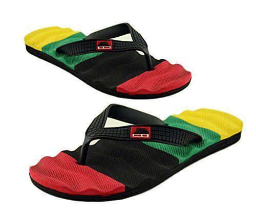 RASTA Stripe Slip On Flip Flops Thong Slippers Sandals UK 6-10 EURO 40-44