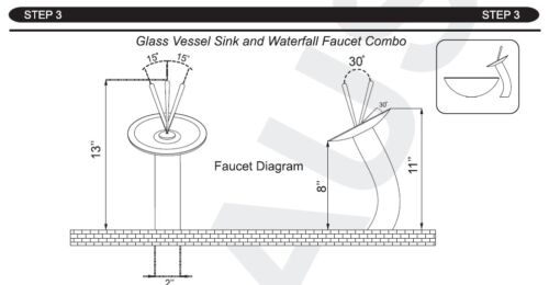 Bathroom Faucet Red Tempered Glass Round Waterfall Spout Deck Mounted Mixer Taps