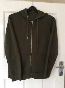 Mens-Size-Medium-Khaki-Long-Sleeve-Zipped-Hoodie-By-Burtons
