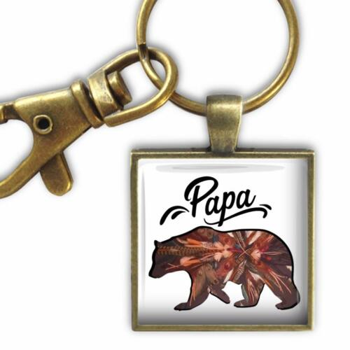 Papa Bear Glass Top Pendant Style Clip On Key Chain Family Love Gift