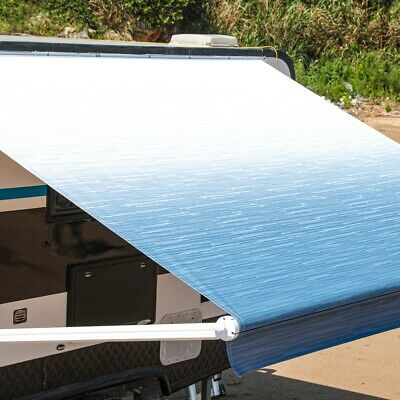 Brown Stripes ALEKO Retractable RV Awning Fabric Replacement 20x8 ft Shade Cover for Camper Trailer or Patio