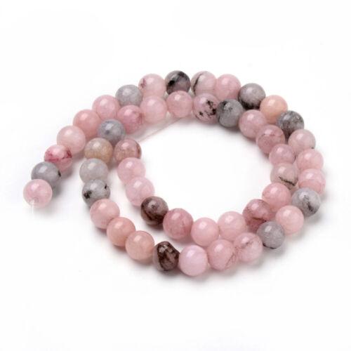 Natural Cherry Blossom Jasper Round Beads Strand of 40
