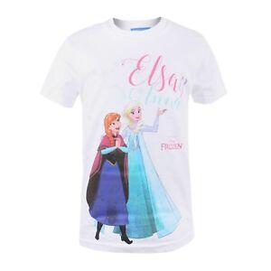 Disney-Frozen-Snowflake-Hearts-Kids-Boys-Girls-White-T-shirt-Ages-3-10
