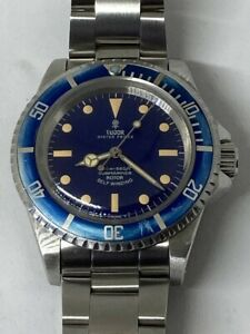 TUDOR-OYSTER-PRINCE-SUBMARINER-Ref-7016-0-Automatic-SS-Blue-Vintage-Diver-Watch