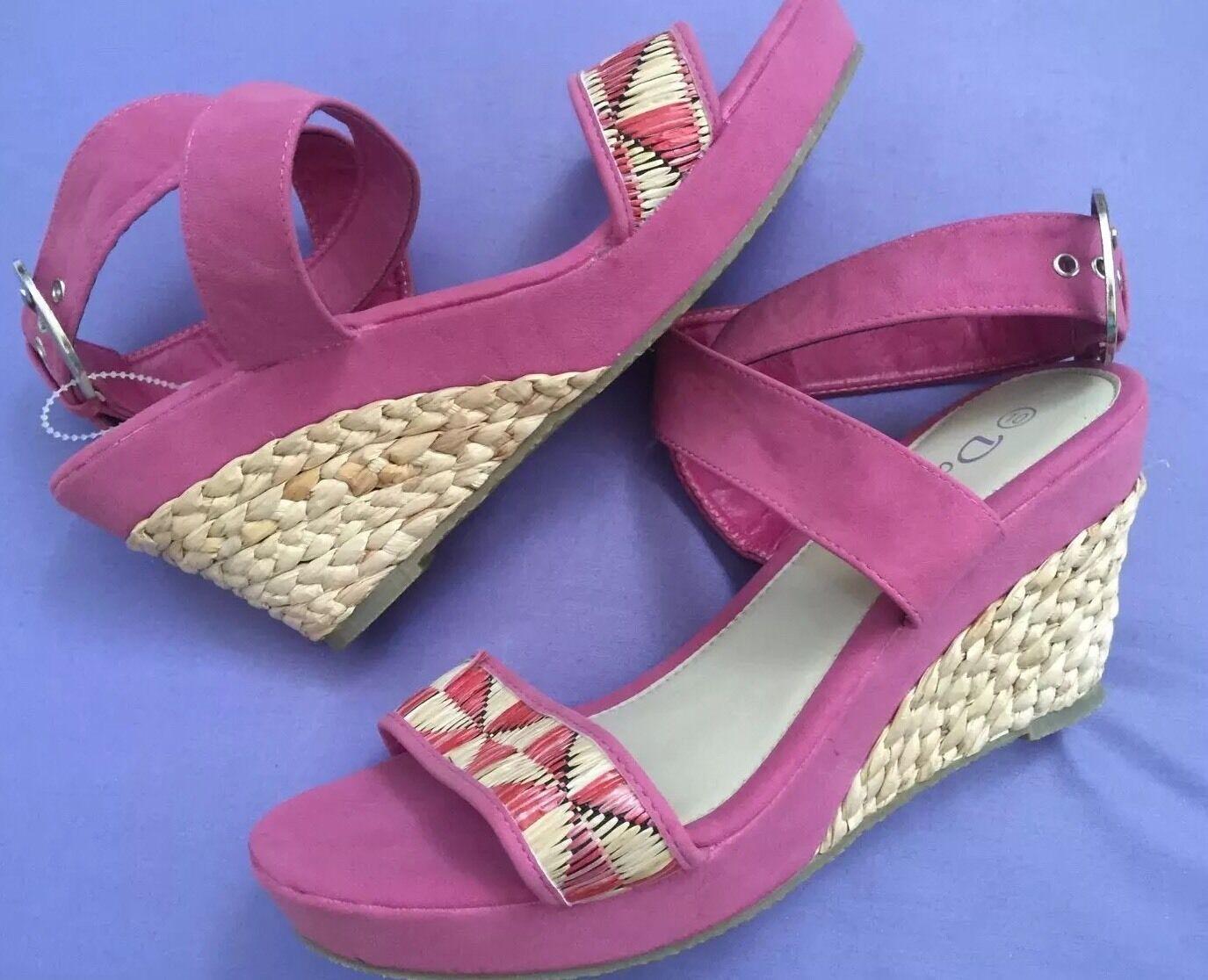 New Dalia Rafia Pink Faux Suede Strap Sandals Rafia Dalia Wedge sz 10 879051