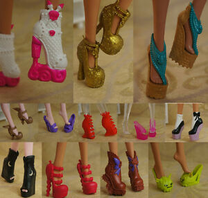 10pairs/lot Colorful Doll Accessory Shoes For Monster High Doll Boots High Heel