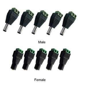 5Pcs Male Female 2.1x5.5mm DC Power Plug Jack Adapter Wire Connector for CCTV